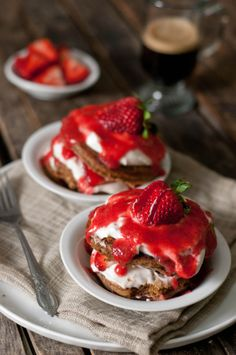 Strawberry Tiramisu Pancakes (pancakes adapted from The Ivory Hut)coffee-cocoa flapjacks between layers of sliced strawberries, creamy Mascarpone and a sweetened strawberry puree
