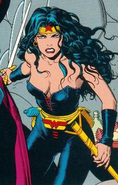 "Wonder Woman. This is Kim Foret every time she says.... ""I'm gonna stab you"". This is the picture that comes to mind.    Lol"