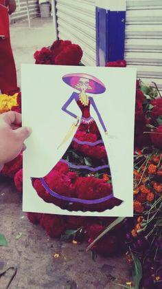 Catrina #DiaDeMuertos #fashionsSketch #IlustraciinDeModa