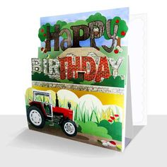 Happy Birthday Card - Red Tractor, Unique Greeting Cards Online, Luxury Handmade Cards, Unusual Cute Birthday Cards and Quality Christmas Cards by Paradis Terrestre Cute Birthday Cards, Red Tractor, Online Greeting Cards, Handmade Cards, Print Design, Christmas Cards, 3d, Luxury, Unique