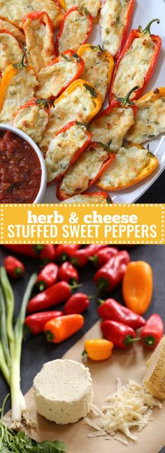 With 4-ingredientherb and cheese mix, these Stuffed Sweet Peppersare great for entertaining. Assemble them ahead and just slide them in the oven right before guests arrive for a warm, crowd-pleasing appetizer. #easy #appetizer  #holiday
