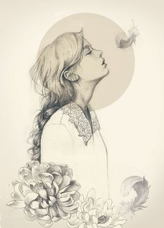 Drawing of girls with flowers fashion illustrations Ideas Art And Illustration, Art Illustrations, Fashion Illustrations, Fashion Sketches, Character Illustration, Drawing Sketches, Art Drawings, Awesome Drawings, Drawing Tips