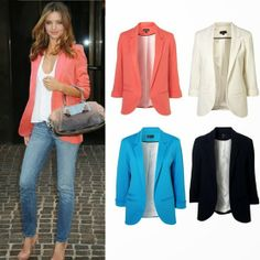 Casual Slim Solid Suit Blazer Jacket Coat Outwear Women Fashion Candy Color Hot in Clothing, Shoes & Accessories, Women's Clothing, Coats & Jackets Blazers For Women, Suits For Women, Jackets For Women, Clothes For Women, Women Blazer, Look Fashion, Fashion Outfits, Womens Fashion, Blazer Outfits