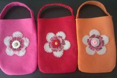 3 cute small handmade felt bags with flowers by Monanique on Etsy, €8.95