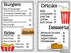 Math Restaurant Menu - The Burger Joint (2nd - 3rd)