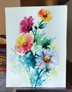 Original Watercolor Flower Painting, Rainbow Colored Flower Bouquet Inch - My site Watercolor Water, Watercolor Cards, Watercolor Landscape, Watercolour Painting, Watercolor Flowers, Drawing Flowers, Flower Drawings, Flower Bouquet Drawing, Flower Paintings