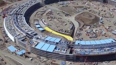 """This drone got a great look at Apple's new """"spaceship"""" campus."""