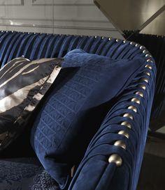 Roberto Cavalli Blue Sofa #Design #LuxuryInteriors #RobertoCavalliInteriors