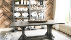 DIY Factory Cart Coffee Table - Shanty 2 Chic The Effective Pictures We Offer You About farmhouse di Modern Rustic Dining Table, Dining Table Redo, Diy Table, Rustic Modern, Outdoor Dining, Dining Room, Console Tables, Rustic Wood, Farmhouse Cribs
