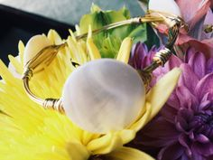 Mother of Pearl Wire Wrap Bracelet by BaublesandBumblebees on Etsy