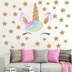 Cute Cartoon Unicorn Wall Stickers for Kids Room Girls Bedroom Home Decor DIY Animal Wallpaper Wall Art Mural Decals - decorationroomgirl Girls Room Wall Decor, Girl Bedroom Walls, Girl Bedroom Designs, Room Girls, Nursery Room, Diy Home Decor Bedroom Girl, Bedroom For Girls Kids, Bedroom Ideas, Kids Room Wall Art