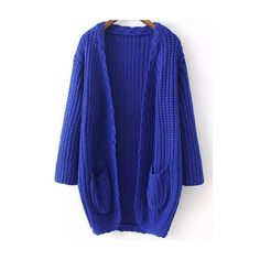 Blue Long Sleeve Cable Knit Pockets Cardigan ($35) ❤ liked on Polyvore featuring tops, cardigans, chunky cable knit cardigan, long blue cardigan, blue top, pocket tops and long tops