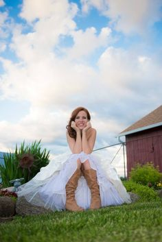 Cowgirl boots and wedding dress!