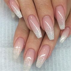 French Fade With Nude And White Ombre Acrylic Nails Coffin Nails French Omb. - French Fade With Nude And White Ombre Acrylic Nails Coffin Nails French Ombre Nails mit Goldgl - Gold Nails, Pink Nails, My Nails, Glitter Ombre Nails, White Acrylic Nails With Glitter, Sparkle Acrylic Nails, White Nail, White Glitter, Glitter Acrylics