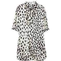 Sonia by Sonia Rykiel Dalmatian-print satin-twill blouse ($155) ❤ liked on Polyvore