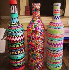 Decorated wine bottles colorful color decoration diy diy ideas diy crafts do it yourself crafty diy pictures