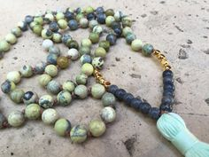 GRATITUDE 108 mala beads yellow turquoise with 22K gold