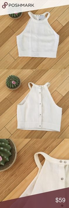 A.L.C. Snap Back Crop Top In good used condition - this stunning crop top features a halter neck and a back snap for closure. Size 4. Made in the USA of Spanish fabric. Top is a little more off white than stock photos. A.L.C. Tops Crop Tops