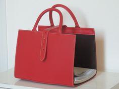 Porte-revues cuir rouge