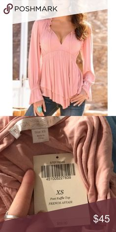 Boston proper new poet ruffle top pink French Brand new with tags! Size XS Boston Proper Tops Tunics