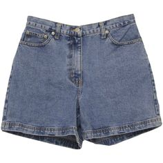90's Vintage Shorts: 90s -Ann Taylor- Womens light blue cotton denim... (515 CZK) ❤ liked on Polyvore featuring shorts, bottoms, pants, denim, 5 pocket shorts, ann taylor shorts, ann taylor, denim shorts and button shorts