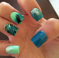 Zebra Print Acrylic Nails