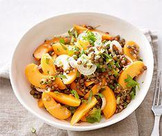 Aprikosen-Linsen-Salat Omelet, Cantaloupe, Salads, Vegan, Fruit, Cubes, Mad, Gourmet, Onion
