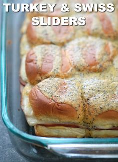 These Turkey and Swiss Cheese Sliders are made with sweet Hawaiian rolls topped with a creamy honey mustard sauce, deli sliced turkey, Swiss cheese and a buttery poppyseed topping. These easy sliders are perfect for game day or quick, weeknight dinner! Rolled Sandwiches, Slider Sandwiches, Turkey Sandwiches, Ham Sliders, Hamburger Sliders, Steak Sandwiches, Delicious Sandwiches, Paninis, Quesadillas