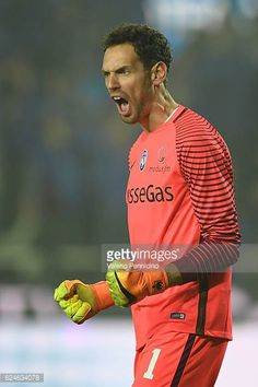 Etrit Berisha of Atalanta BC celebrates victory at the end of the Serie A match between Atalanta BC and AS Roma at Stadio Atleti Azzurri d'Italia on...