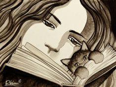 Девушка с книгой и кошечкой, ву RaphaГ«l Vavasseur Art