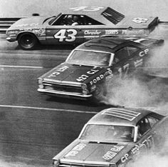1967, Charlotte, North Carolina, Richard Petty (43) hits the wall on the 4th turn here today midway in the National 500 Stock Car Race as Dave Pearson (17) and Mario Andretti (11) fight to regain control of their cars as they spin sideways. Image by Bettmann CORBIS