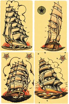 Few different ideas for the traditional ship tattoos. #Nautical #SailorJerry #OldSchool