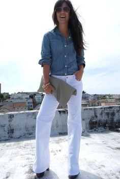 white pants and chambray shirt