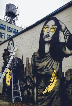 by Christina Angelina aka StarFighter & Fin Dac (in NYC). Women in street art. Street Art Banksy, Graffiti Art, Graffiti Painting, Murals Street Art, Mural Art, Graffiti Quotes, Urban Street Art, 3d Street Art, Best Street Art