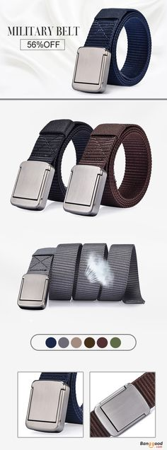 US$12.58 + Free shipping. Men Women Belt, Buckle Belt, Nylon Alloy Belts, Pants Strips. Love this unisex, outdoor, casual and street style of belts. Color: Army Green, Black, Grey, Khaki, Coffee, Dark Blue, Brown. The Belt Width: 3.2cm / 1.25'', Length: 118cm / 46.02'', The Buckle Width: 4cm / 1.56'', Length: 5cm / 1.95''.