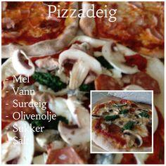 Pizzadeig p? Tacos, Pizza, Meat, Chicken, Baking, Ethnic Recipes, Food, Bakken, Essen