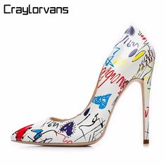 2cdc4190ed Craylorvans 2018 Specia Graffiti Colorful high heels Women s Pumps Sexy  Stiletto high heels Party Women sapato