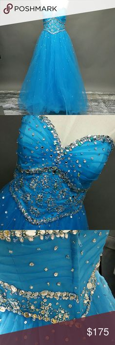 Mori Lee prom dress Beautiful blue prom dress with gorgeous rhinestones. Very good condition. Mori Lee Dresses Prom