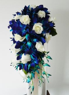 Wedding Bouquet   - blue / aqua / teal / white  - floral / beach / tropical  - orchids  - roses  - teardrop / trailing