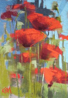 Plein air original pastel painting Poppies by KarenMargulisFineArt