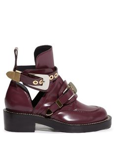 Balenciaga Ceinture cut-out leather ankle boots