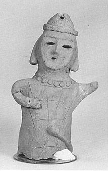 The Kofun period (AD.250?AD.592) art,Haniwa terracotta clay figure.   The men were in armor. He did danceing.  Tochigi Japan.