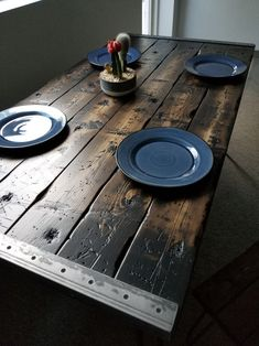 Solid Wood Dining Table, Wood Table, Furniture Makeover, Diy Furniture, Timber Furniture, Farmhouse Furniture, Outdoor Furniture, Mesa Sofa, Pub Chairs