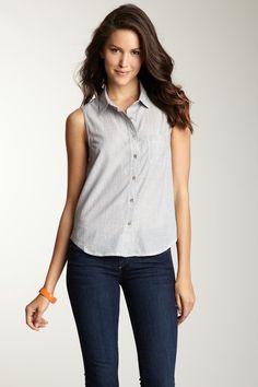 Earnest Sewn Sleeveless Button Front Shirt