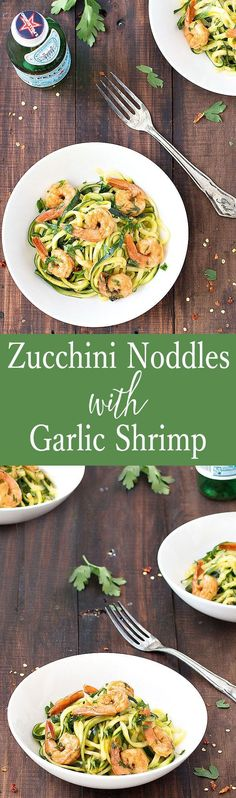 Zucchini noodles with garlic shrimp: an easy, healthy, low carb, gluten free, paleo meal that takes only 20 minutes to throw together.