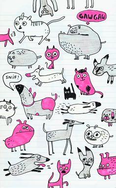 Elise Gravel illustration • dogs • cat • cute • funny • pattern • doodle • sketchbook • sketch •
