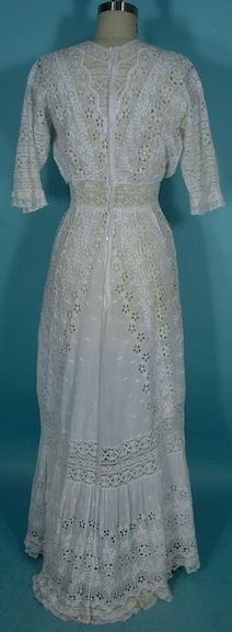 """c. 1907-1910 Elaborate White Cutwork and Mixed Lace and Embroidered Lawn Dress! These white cotton or linen dresses of the Edwardian era were called lawn dresses, or lingerie dresses, or """"whites""""... and probably lots of other names as well. Basically they were the summer day dresses and could be worn with a variety of colored slips/linings. Usually pink or light blue were the most popular. View 2 of 2"""