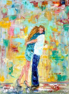 Original oil painting The Kiss couple in Love abstract palette knife impressionism on canvas fine art by Karen Tarlton