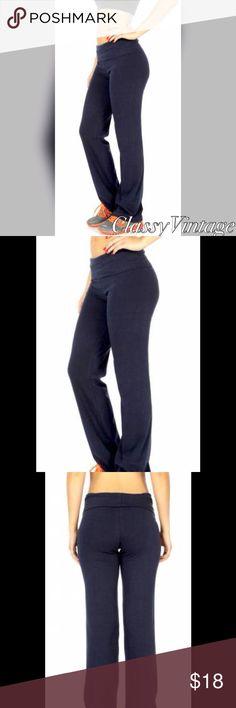 Navy blue cotton blend yoga pants Fold over waist navy blue yoga pants. Super soft and stretchy cotton blend boutique Pants Track Pants & Joggers