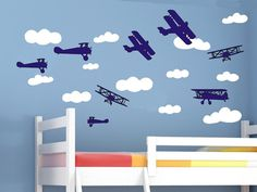 Airplane Wall Decals and Cloud Wall Decal Set Air Plane Airplane Wall Stickers Bi Planes Biplanes Boys Bedroom Wall Decor Bed Room Nursery